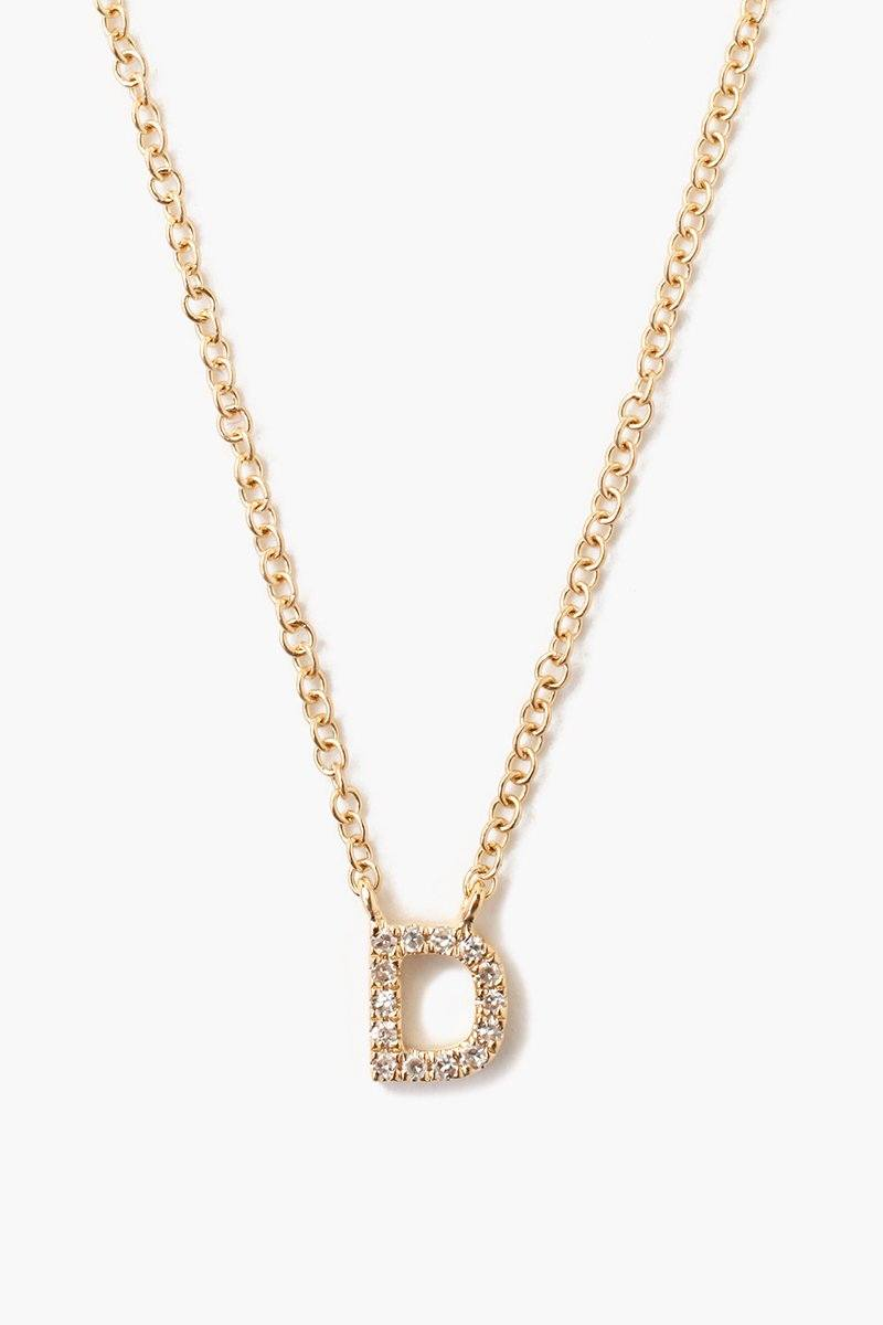 White Diamond Initial Necklace