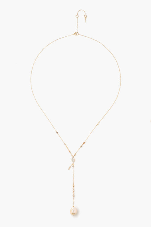 Sliced Champagne Diamond and Baroque Pearl Y Drop Necklace (Pre-Order)