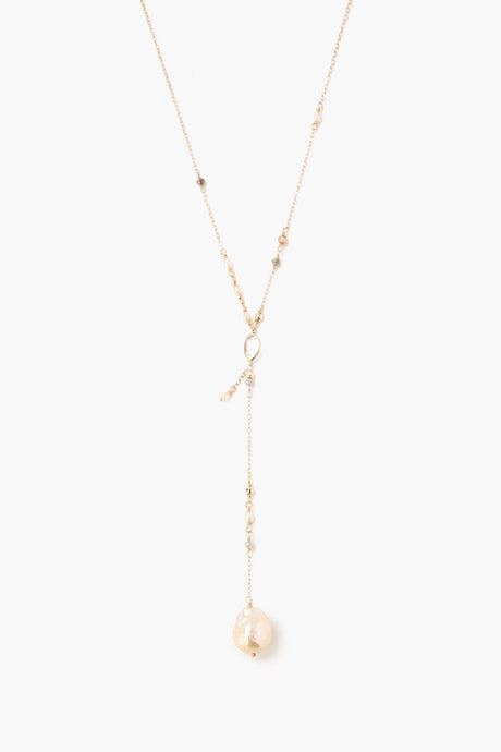 Sliced Champagne Diamond and Baroque Pearl Y Drop Necklace