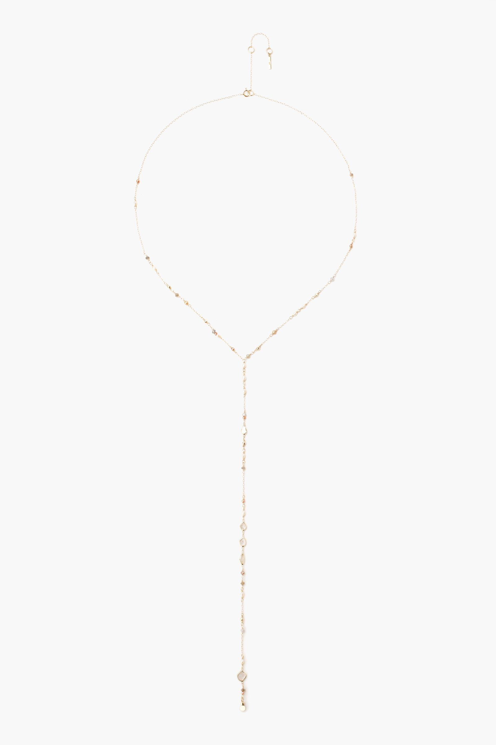 Sliced Champagne Diamond and Freshwater Pearl Y Necklace
