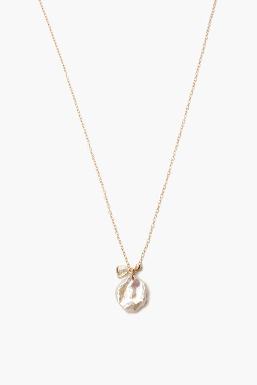 Keshi Pearl and Sliced Champagne Diamond Necklace