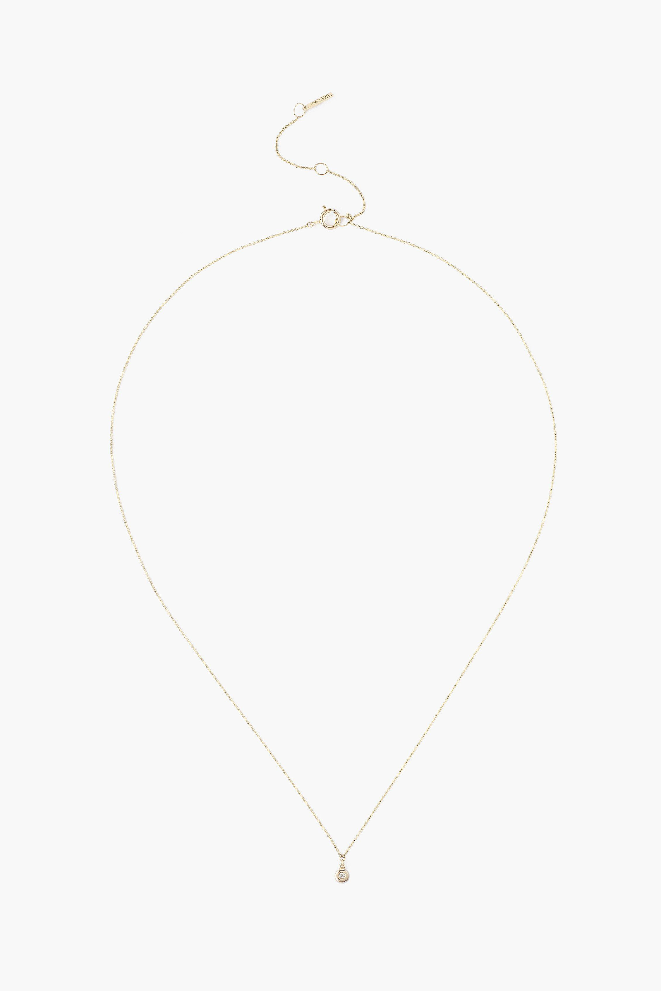 14k Gold Circle Necklace with Diamond Inlay