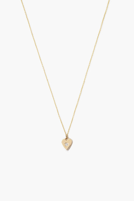 14k Gold Heart Necklace with Diamond Inlay