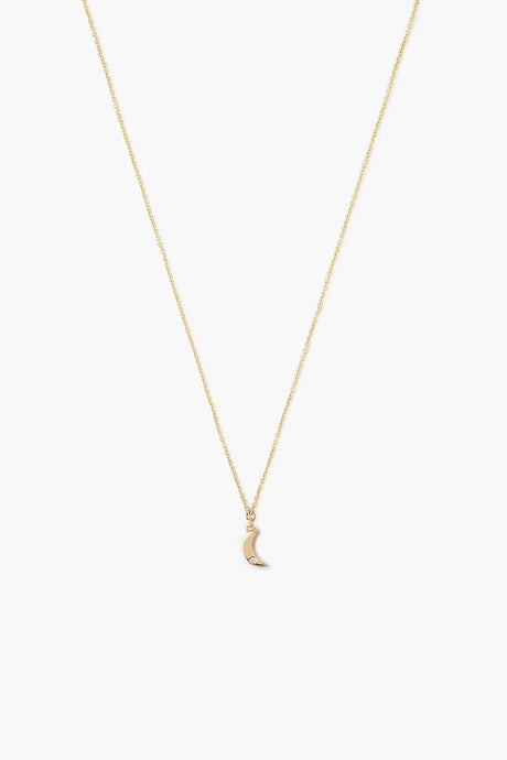 14k Gold Moon Necklace with Diamond Inlay