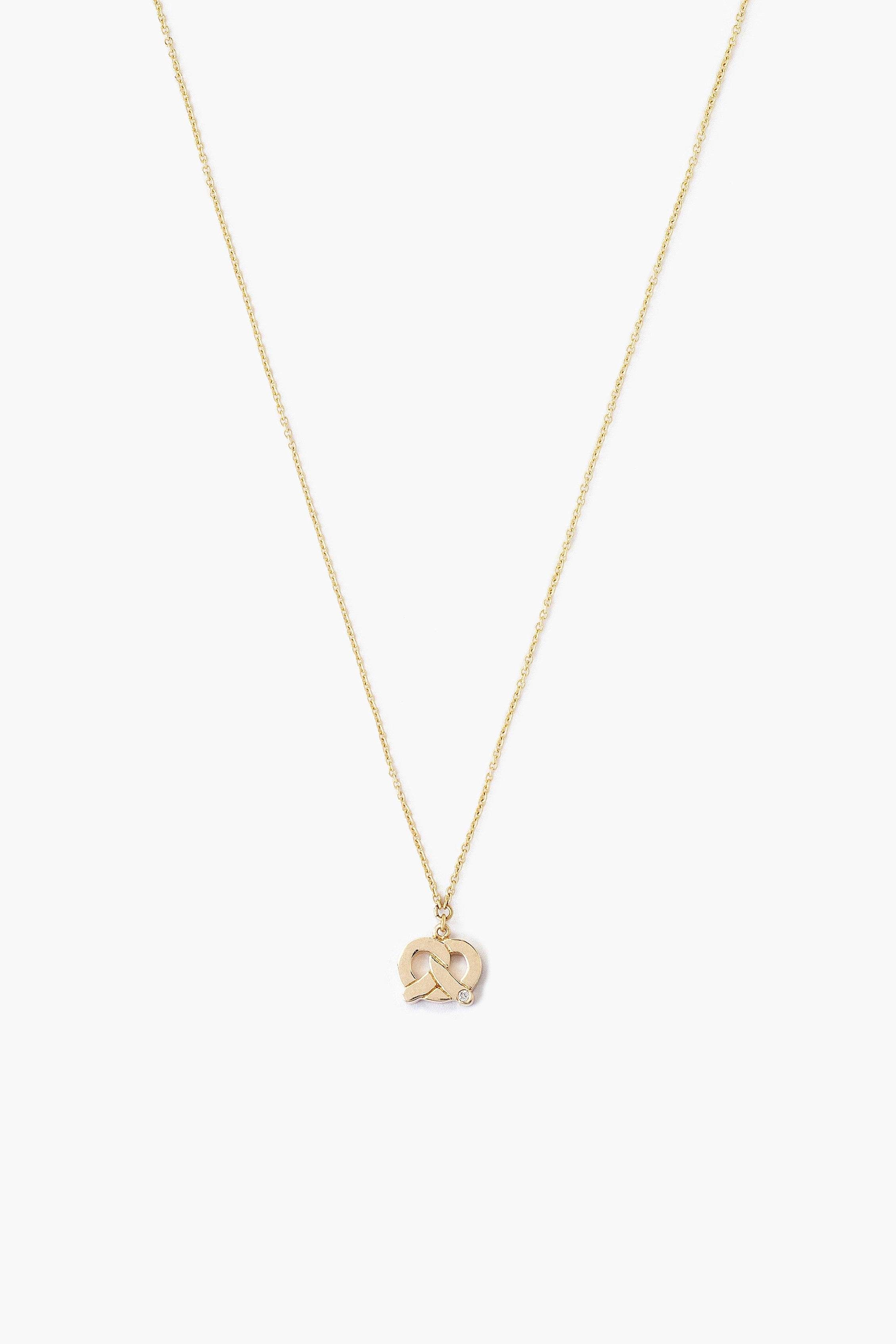 14k Gold Pretzel Necklace with Diamond Inlay