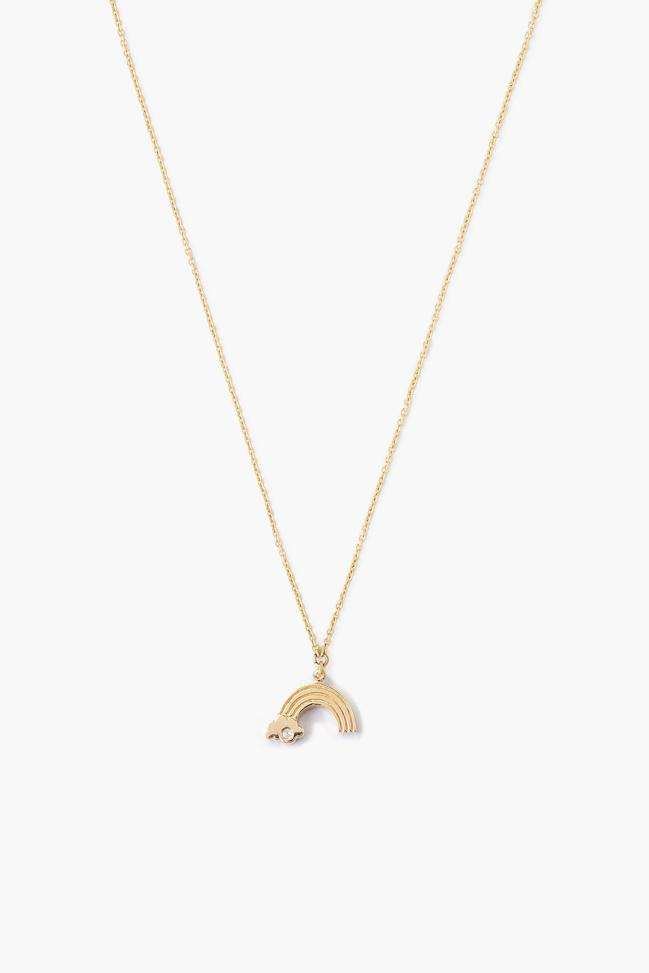 14k Gold Rainbow Necklace with Diamond Inlay