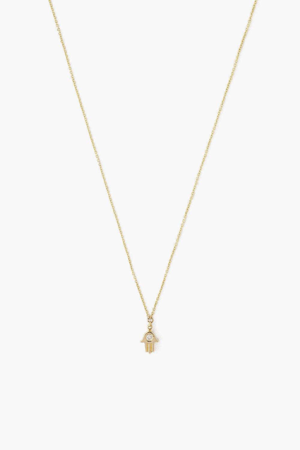 14k Gold Hamsa Necklace with Diamond Inlay