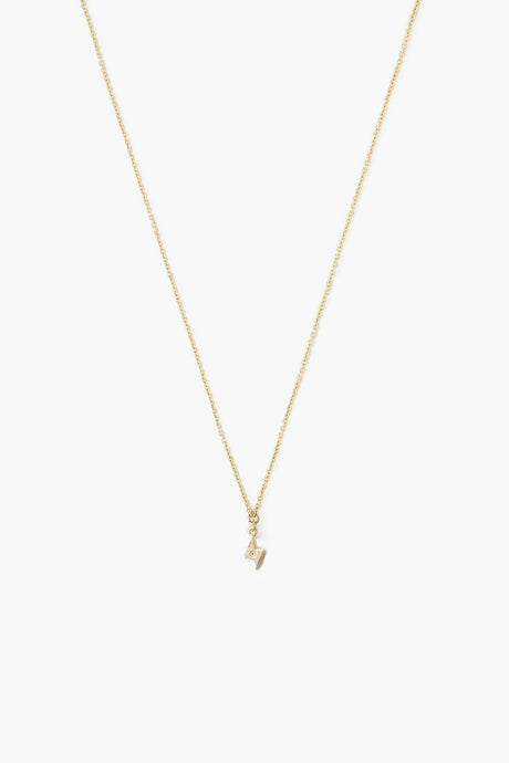 14k Gold Bolt Necklace with Diamond Inlay