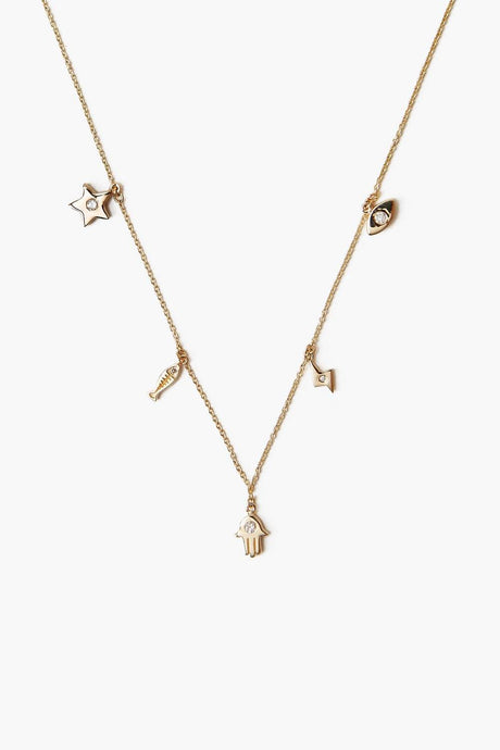 14k Hamsa Mix Necklace with Diamond Inlay