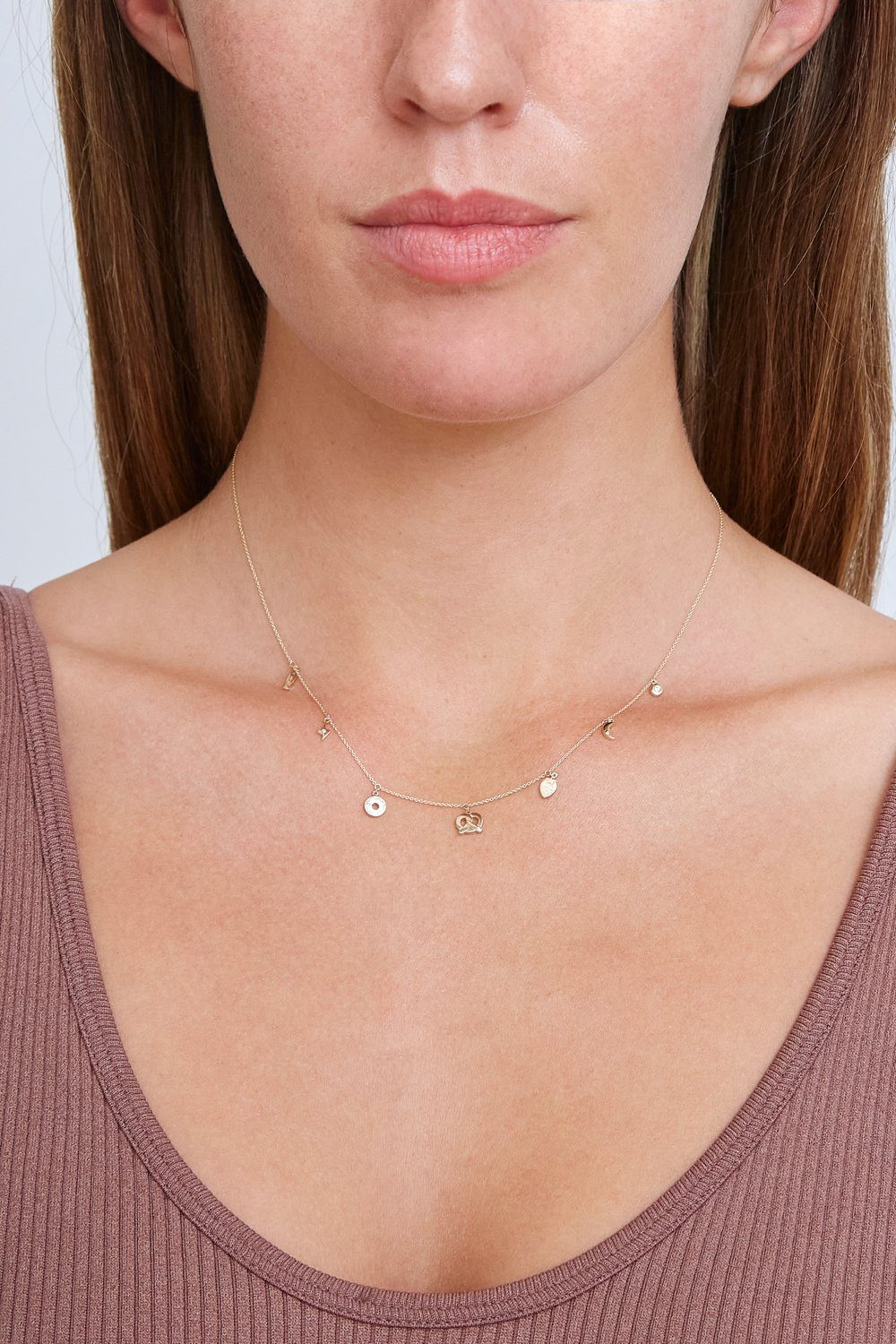 14k Gold Fun Necklace with Diamond Inlay