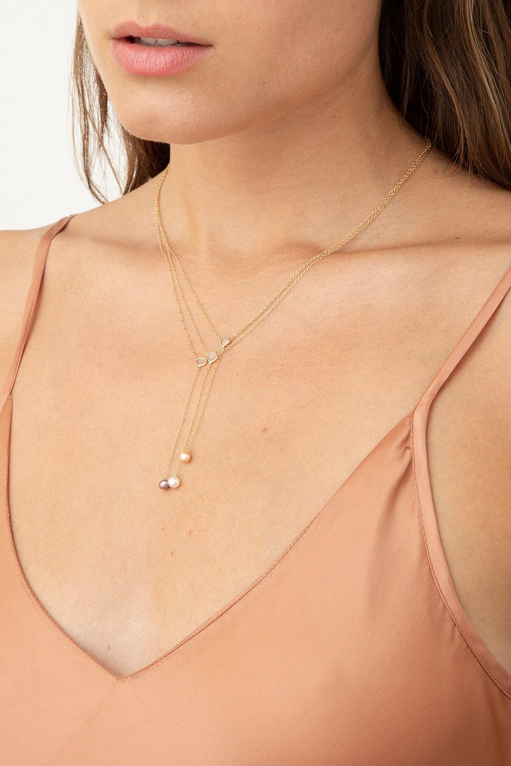 Sliced Champagne Diamond and Taupe Pearl Y Necklace