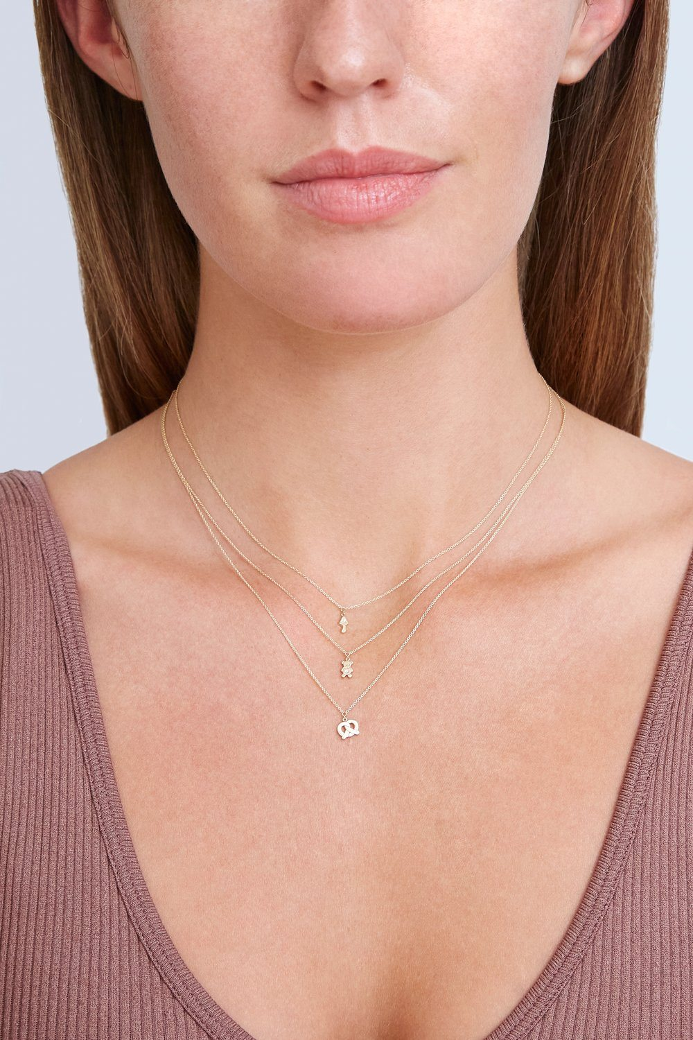 14k Gold Mushroom Necklace with Diamond Inlay
