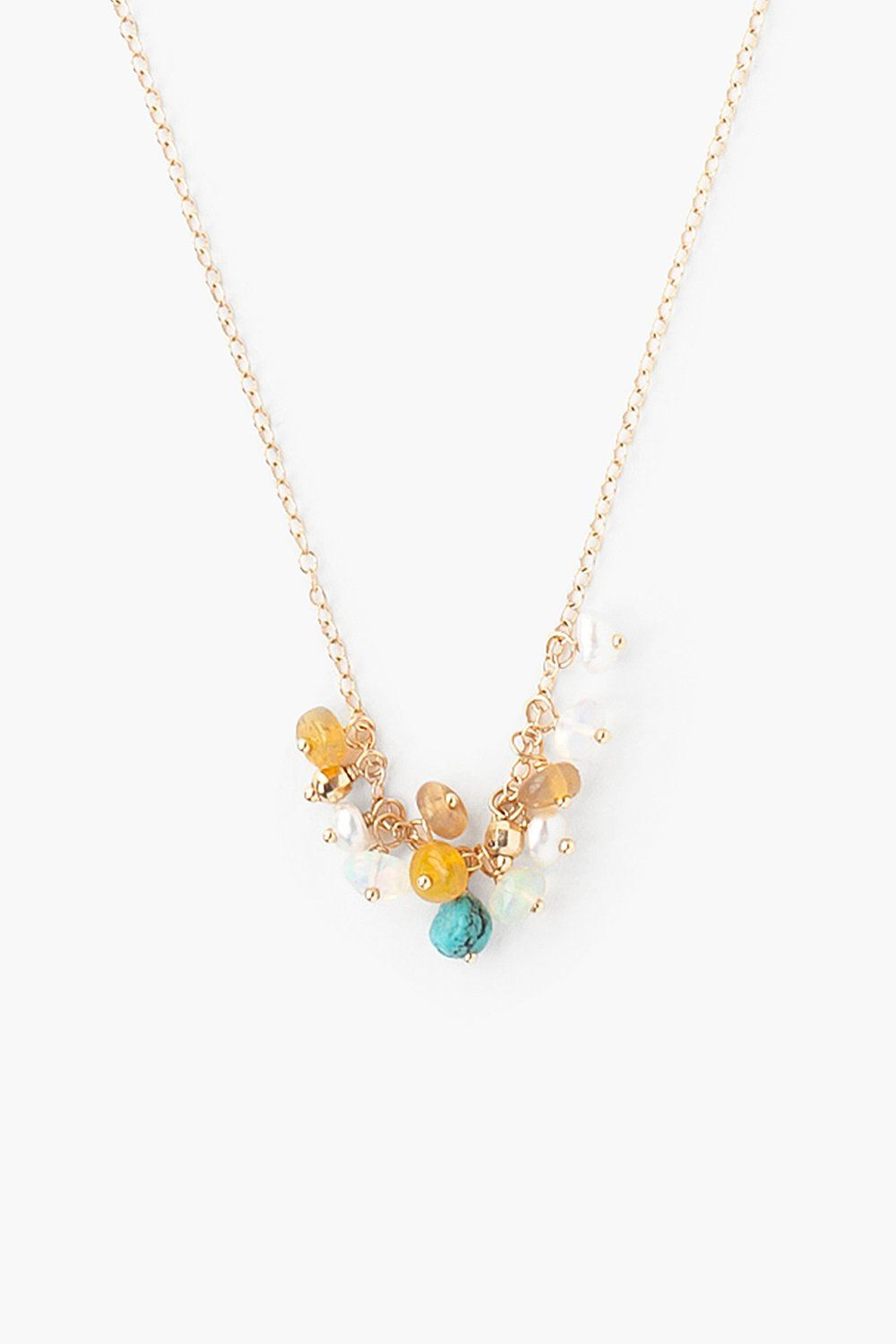 14k Opal and Turquoise Charm Necklace