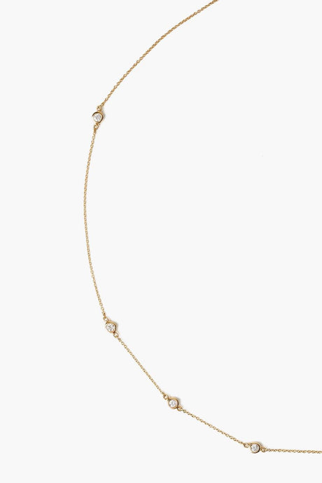 14k Gold Delicate Chain Necklace with Diamonds