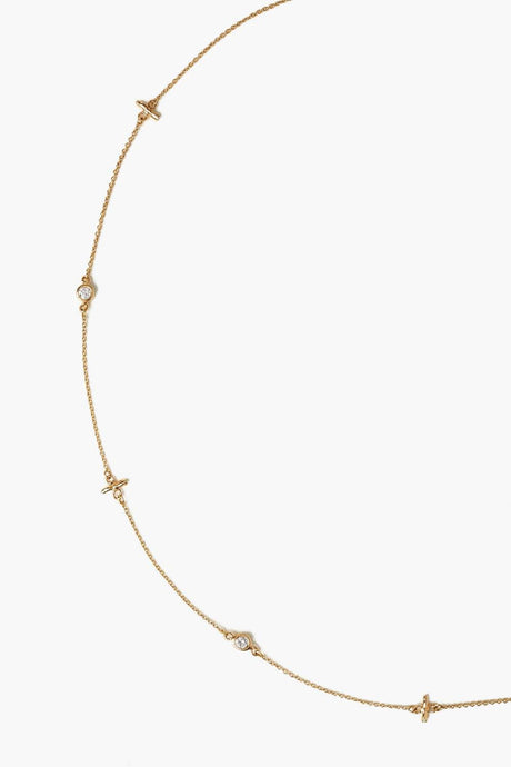 14k Gold Notch and Diamond Short Necklace
