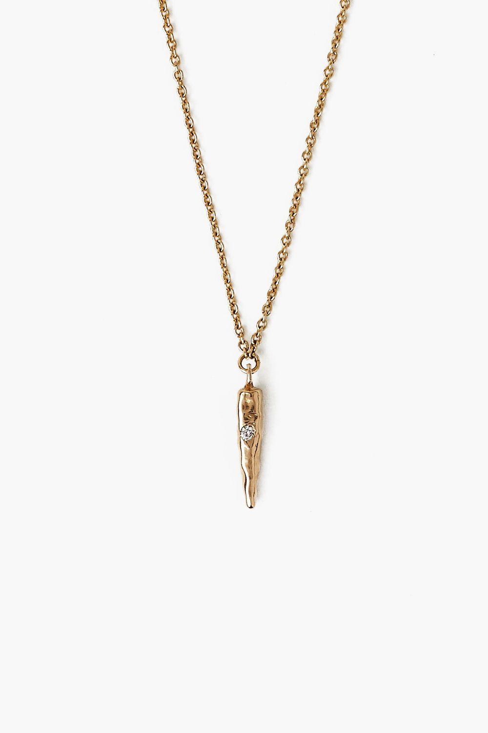 14k Gold Modern Bar and Diamond Necklace