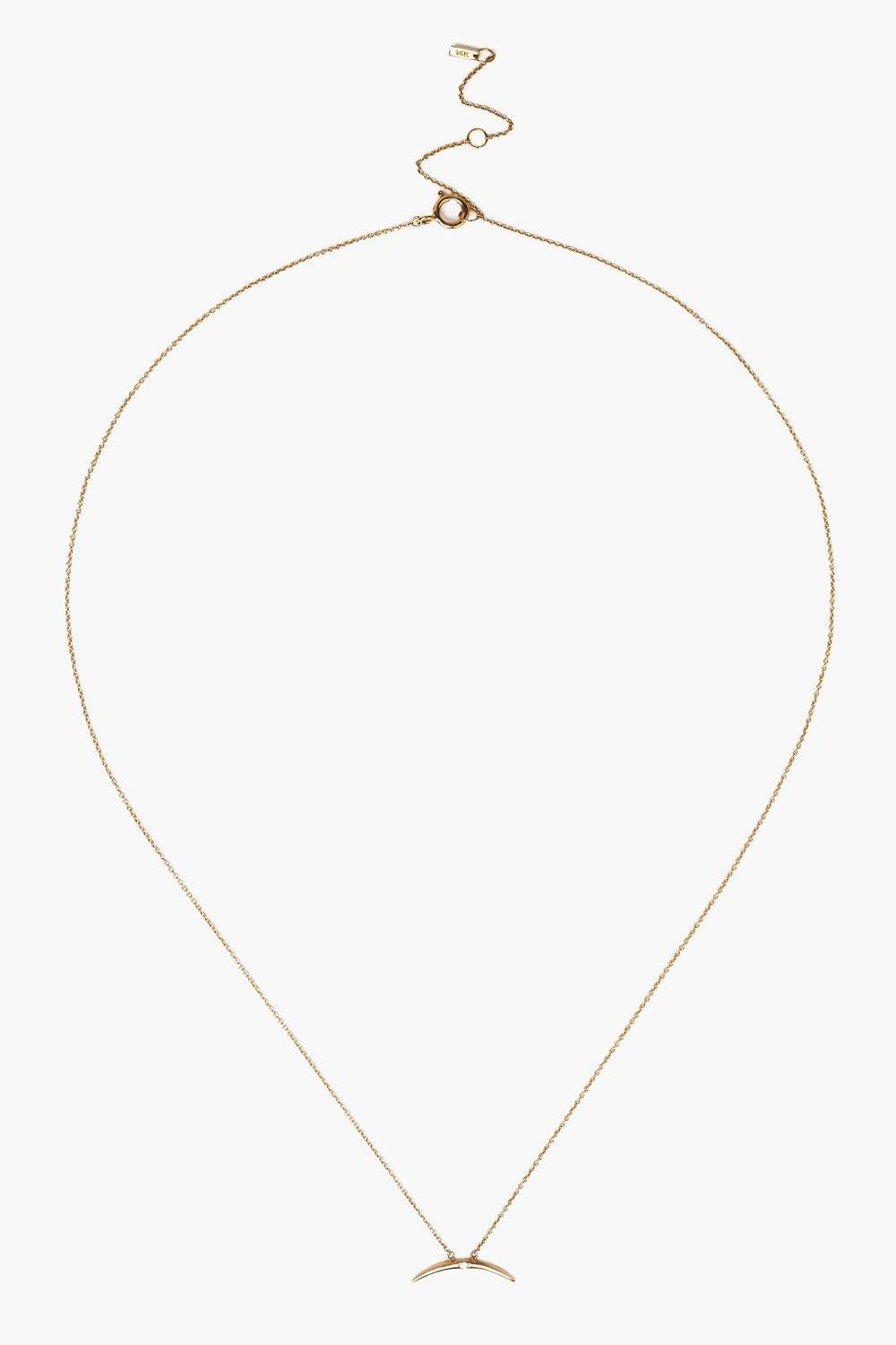 14k Gold Diamond Large Horn Necklace