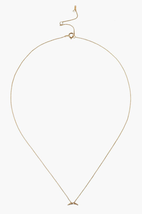14k Gold Horn with Diamond Inlay Necklace