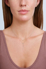 14k Gold Diamond Lariat Horn Necklace