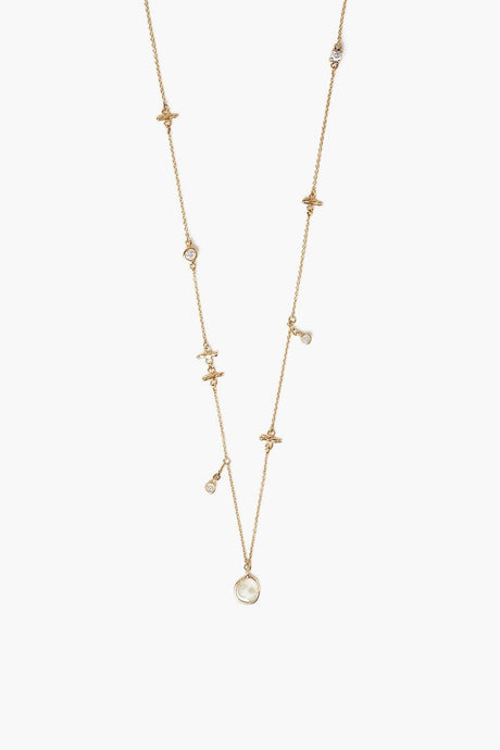 14k Gold Notch and Diamond Necklace