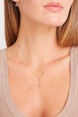 14k Gold Y-Necklace with Champagne Diamonds