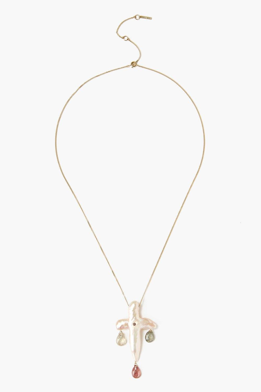 14k Gold Baroque Pearl Chandelier Necklace