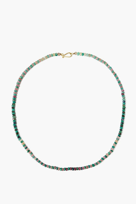 Emerald and Pink Sapphire Puka Necklace