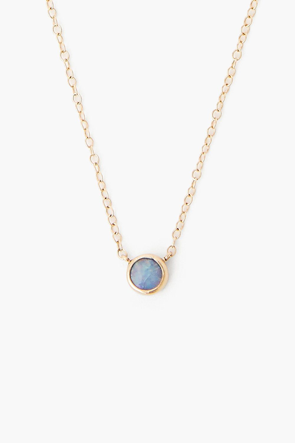 Blue Opal Pendant 14k Gold Necklace
