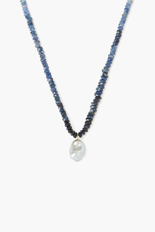 14k Blue Sapphire and South Sea Pearl Necklace