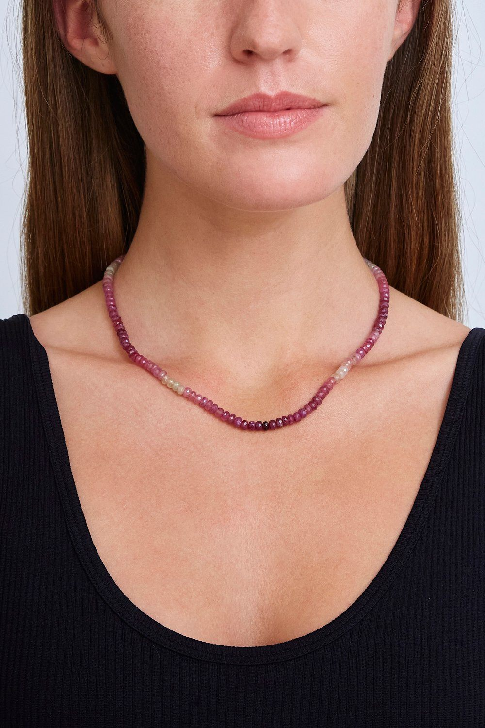 14k Pink Sapphire Necklace