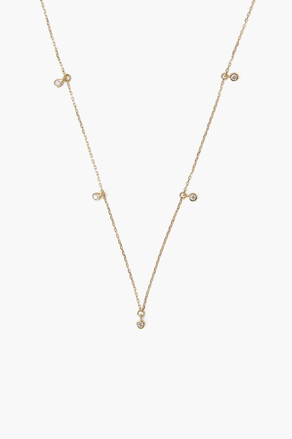 14k Gold Classic Diamond Inlay Necklace