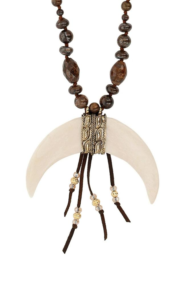 Bronzite Statement Bone Horn Necklace