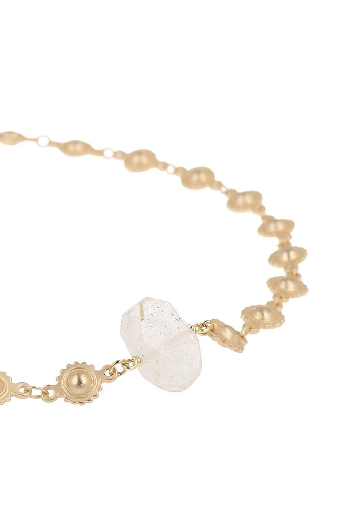 Rutilated Quartz Floral Chain Choker
