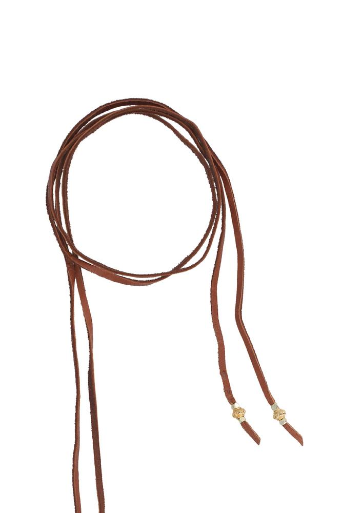 White Bone Horn Adjustable Leather Necklace