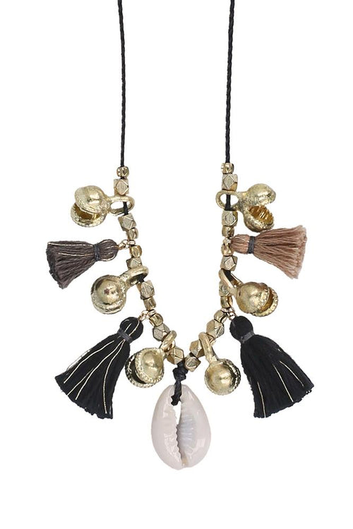 Black Mix Charm Tassel Necklace