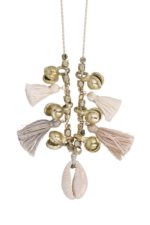 Cream Mix Charm Tassel Necklace