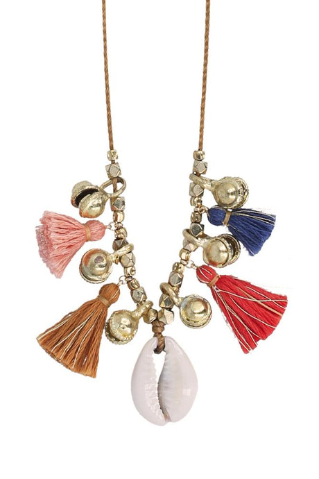 Multi Mix Charm Tassel Necklace