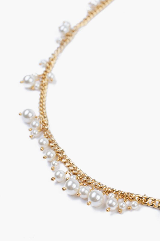 Gold Toned Cream Pearl Long Necklace