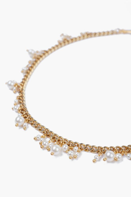 Gold Toned Cream Pearl Short Necklace