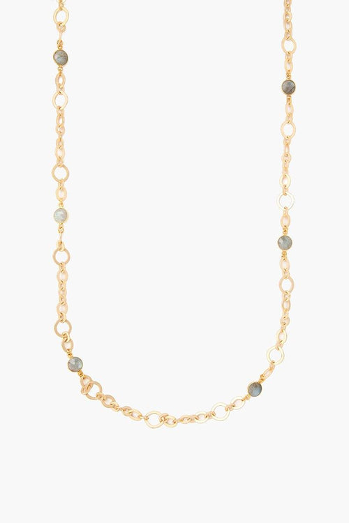 Gold Labradorite Chain Link Necklace