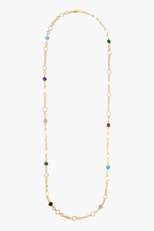 Multi Stone Chain Long Necklace