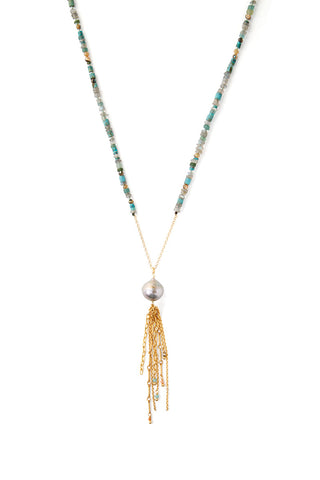 Turquoise and Pearl Mix Fringe Necklace