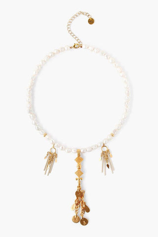 Cream and Gold Tassel Chains Necklace