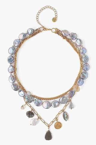 Peacock Pearl Mix Pre-Layered Necklace