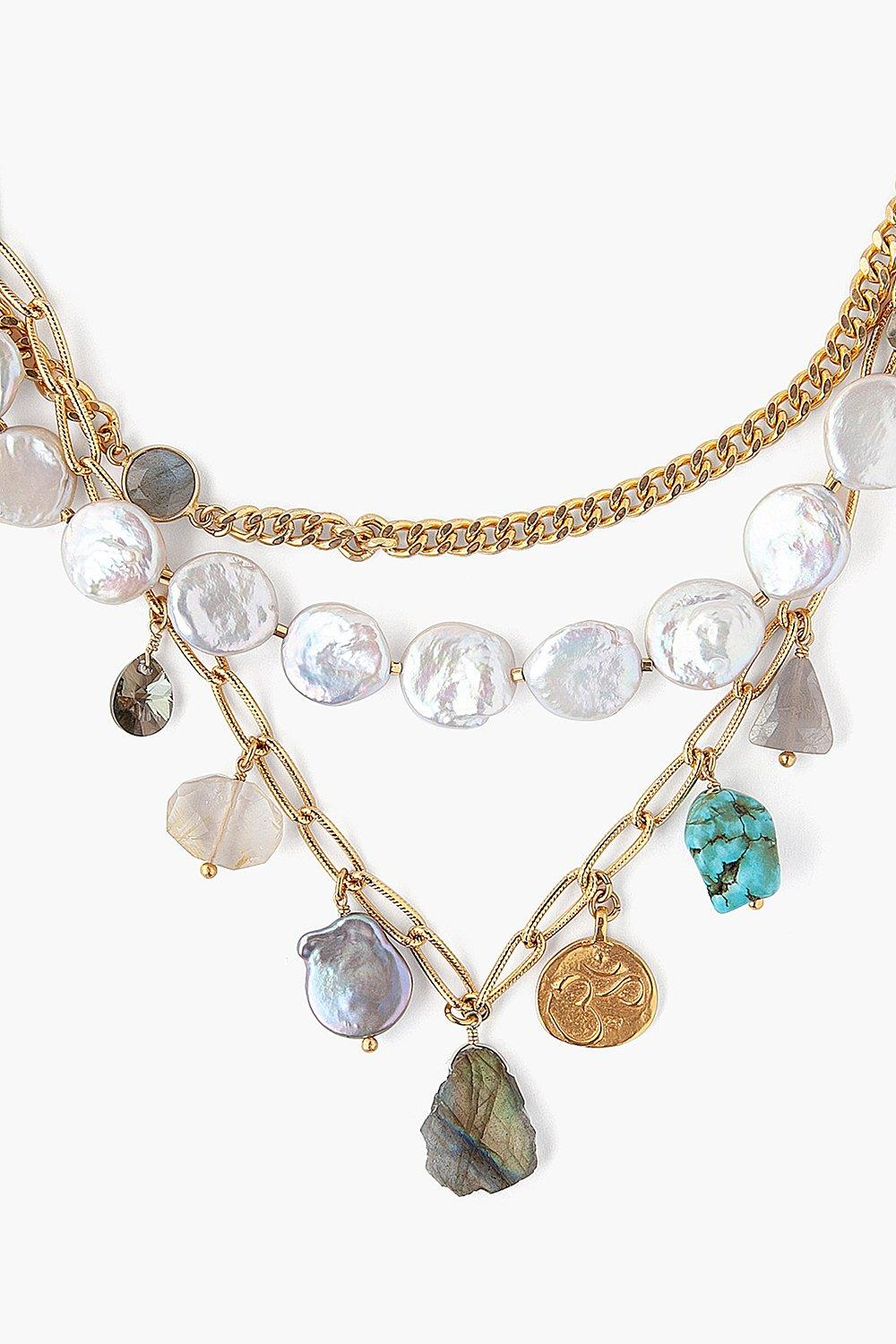White Pearl Mix Pre-Layered Necklace