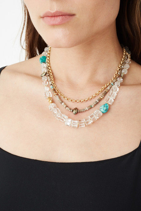 Clear Quartz and Turquoise Pre-Layered Necklace