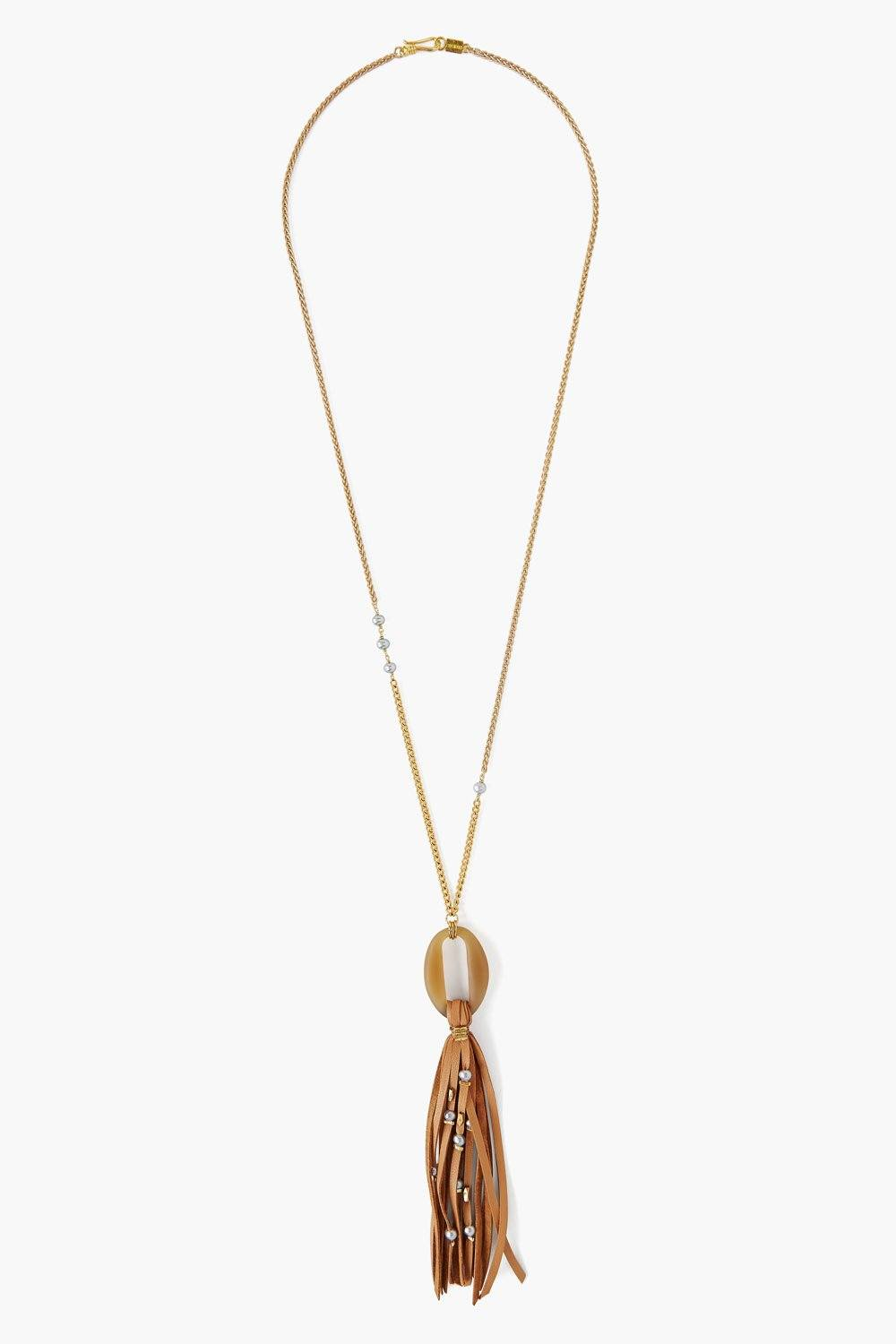 Beige Leather Tassel Necklace