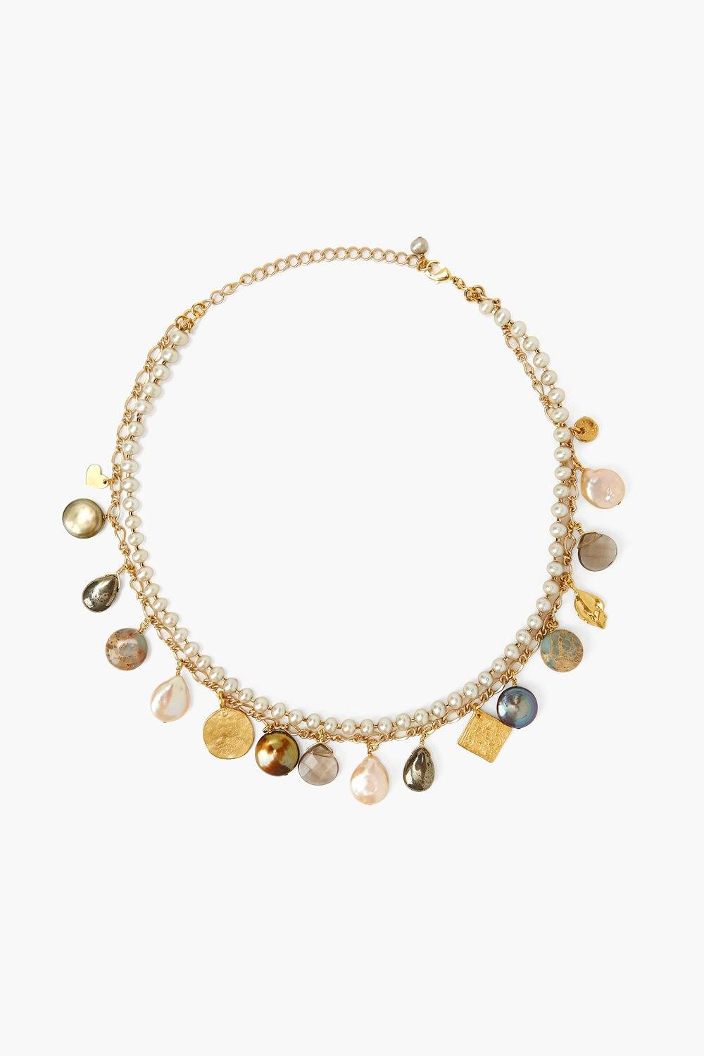 Pearl and Gold Layered Charm Necklace