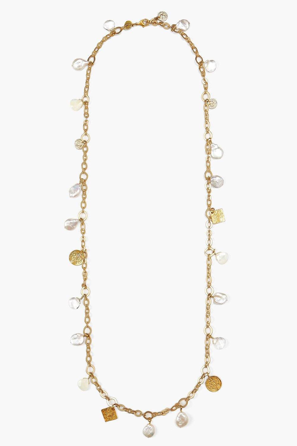 White Pearl Mix Gold Charm Long Necklace
