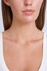 Free-Form White Pearl Mix Short Necklace